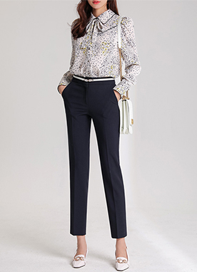 Spring Color Slim Straight Leg Slacks, Styleonme