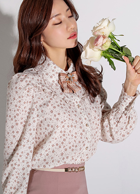 Mini Floral Print Frill Collared Blouse, Styleonme