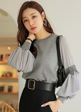 Lace Detail Shirred Chiffon Sleeve Knit Top, Styleonme