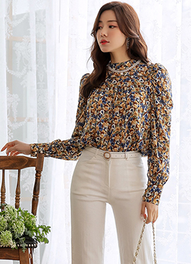 Floral Print Pearl Button Blouse, Styleonme