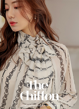 See-through Chain Print Scarf Blouse, Styleonme