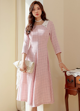 Collared Tweed Flared Dress, Styleonme