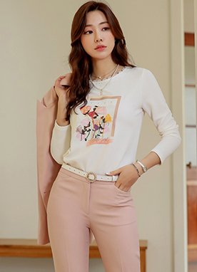 Artistic Flower Print Lace Neckline T-Shirt, Styleonme