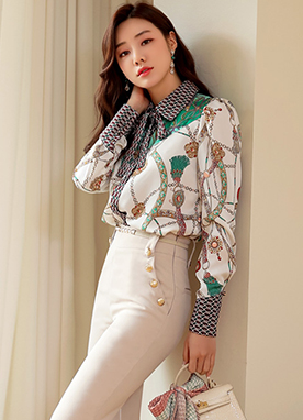 Luxury Chain & Jewel Print Collared Blouse, Styleonme