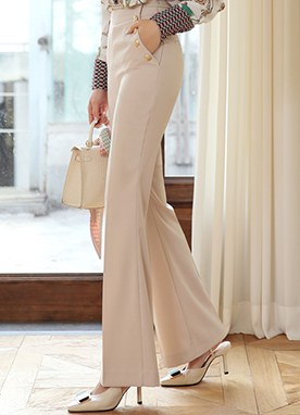 Gold Button High-Waisted Boot-Cut Slacks, Styleonme