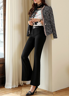 Modern Slim Boot-Cut Slacks, Styleonme