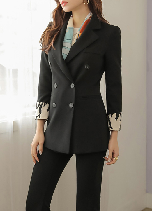Printed Cuff Double-Breasted Tailored Jacket, Styleonme