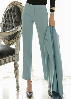 Basic Slim Straight Leg Slacks, Styleonme