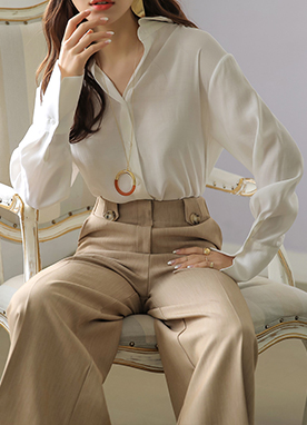 Soft Basic Collared Blouse, Styleonme