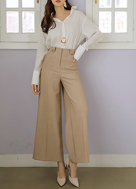 Button Detail High-Waisted Wide Leg Slacks, Styleonme