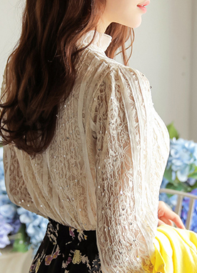 Sequin Floral Lace Blouse, Styleonme