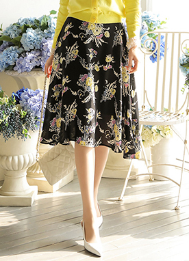 Silky Floral Print Flared Skirt, Styleonme