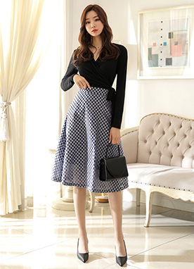 Mini Floral Pattern Flared Skirt, Styleonme
