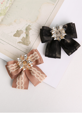 Cubic Lace Ribbon Brooch, Styleonme