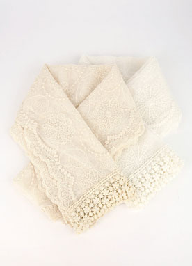 See-through Floral Lace Scarf, Styleonme