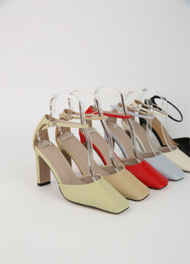 Squared Toe Ankle Strap Mid-Heels, Styleonme