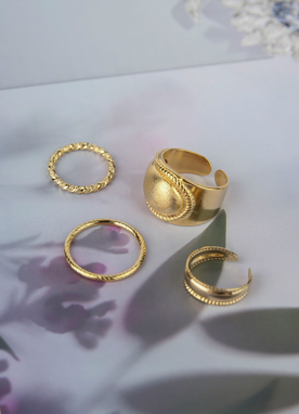 Gold Layered Ring Set, Styleonme