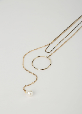 Pearl Circle Ring Layered Necklace, Styleonme
