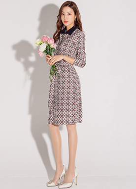 Ethnic Cherry Blossom Collared Dress, Styleonme