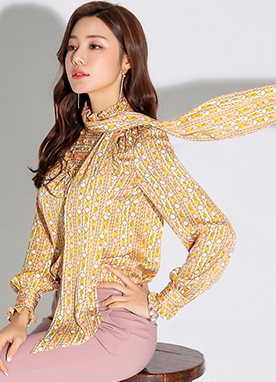 Luxury Gold Chain Print Scarf Set Blouse, Styleonme