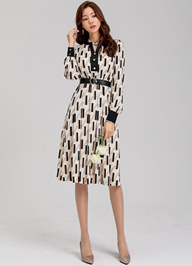 Patterned Belt Set Henry Neckline Dress, Styleonme