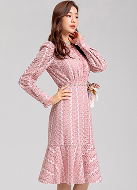 Romantic Pink Lace Flared Hem Dress, Styleonme
