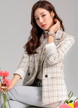 Boyish Fit Check Print Tailored Jacket, Styleonme