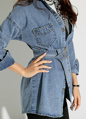 Loose Fit Belted Denim Collared Shirt, Styleonme