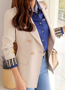 Chain Print Cuff Double-Breasted Tailored Jacket, Styleonme