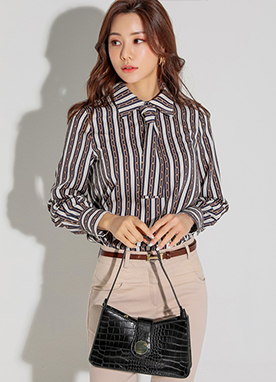 Luxury Chain Print Ribbon Tie Collared Blouse, Styleonme