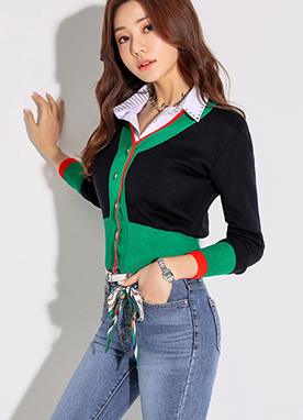 Color Block V-Neck Knit Cardigan, Styleonme