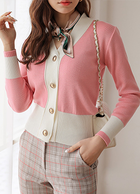 Two Color Single Pocket Knit Cardigan, Styleonme
