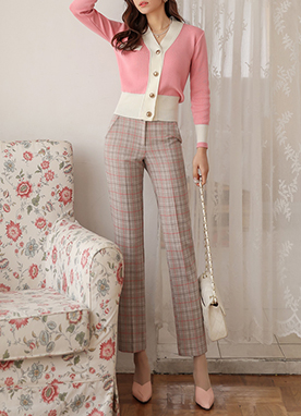 Check Print Tencel Straight Leg Slacks, Styleonme