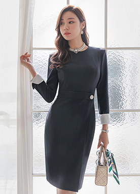 Jewel Button Sheath Dress, Styleonme