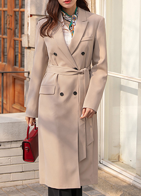 Double-Breasted Belted Long Jacket, Styleonme