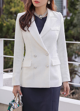 Double-Breasted Pearl Button Tweed Jacket, Styleonme