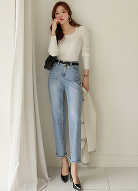 Light Blue Cotton Straight Leg Jeans, Styleonme