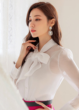 See-through Pearl Button Ribbon Blouse, Styleonme