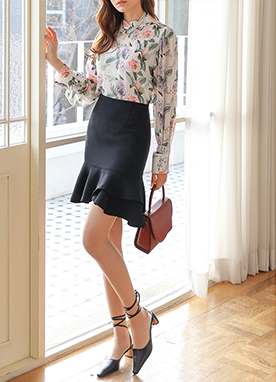 See-through Rose Print Blouse, Styleonme