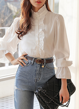 Frill Trim High Neck Blouse, Styleonme
