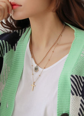 Coin & Cross Layered Necklace Set, Styleonme