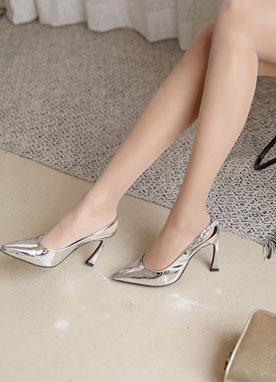 Pointed Slingback Mid-Heels, Styleonme