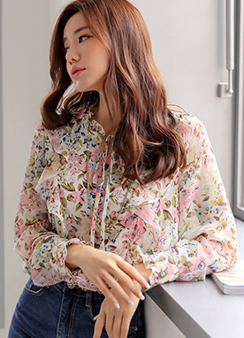 Floral Print Ribbon Tie Frill Chiffon Blouse, Styleonme