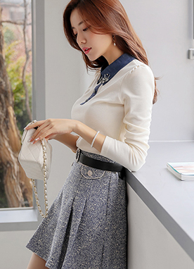 Puff Sleeve Denim Collared Shirt, Styleonme