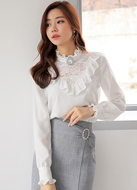 Pearl Detail See-through Lace Frill Blouse, Styleonme