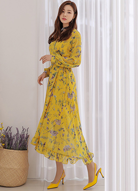 Floral Print Wrap Style Long Dress, Styleonme