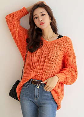 6Colors V-Neck Knit Sweater, Styleonme