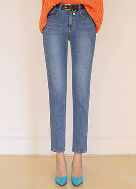 Pocket Detail Straight Leg Jeans, Styleonme