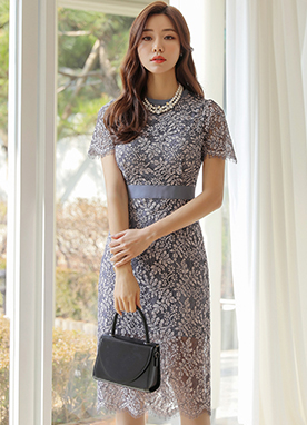 Floral Lace Slim H-Line Dress, Styleonme