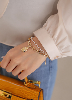 Chain & Pearl Layered Bracelet, Styleonme